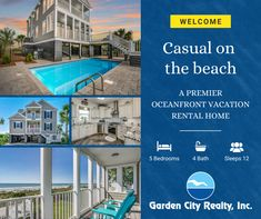 Casual at the Beach is a five-bedroom, four-bath oceanfront home located 1.2 miles south of Garden City Pier and features a private pool. Garden City Beach, Beach Gardens, Oceanfront Vacation Rentals, Private Pool, Bath, Bedroom, Casual, Home, Bathing
