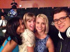 Naya Rivera, Heather Morris, Dianna Agron and Noah Guthrie on the Glee set