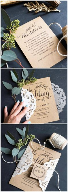 Vintage Wedding Invitation, Rustic Wedding invitation Set, Printable Wedding Invitation, Kraft Wedding Invitation Set, Editable Text, VW01 #weddings #weddinginvitations #diyweddings #rustic
