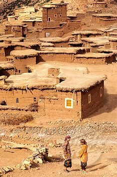Africa, Morocco, Atlas mountain, Ait Bougmez valley, Rbat village (Tabant area), rammed earth houses