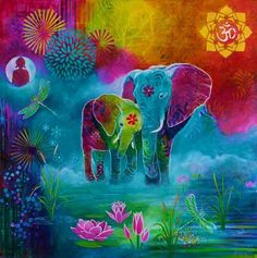 The Elephant's Sacred Garden - Susan Farrell Art Sacred Garden, Elephant Pictures, Elephant Love, Indian Elephant Art, Illustration, Indian Art, Painting Inspiration, Watercolor Art, Art Projects
