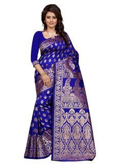 Latest royal blue colour printed banarasi silk saree