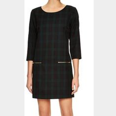 a6fd26bb9 Plaid shift dress with zipper pockets Lined plaid shift dress with zipper  front pockets. Navy blue and green plaid with gold zippers Gap Dresses