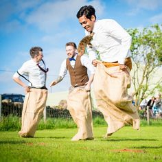 #wedding sack race - one of the many games which couples play at weddings on the farm #funwedding #farmwedding #quirky #weddingvenue