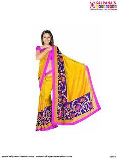 f7c3c6f4b5b0b0 Yellow and Pink Bhagalpuri Silk Designer Saree with Blouse Piece Just Rs.  1500/-