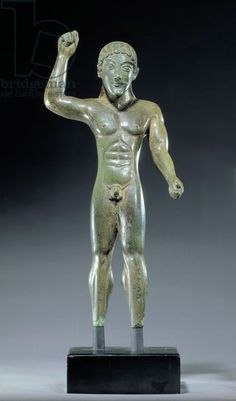 Etruscan bronze statue of a javelin thrower C.550BC Chiusi  British Museum