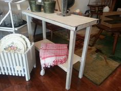 White metal table. Rustic and industrial