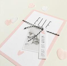 www.zojoann.nl Zelf aan te passen naar smaak #lief #roze #ontwerp #geboortekaartje #birthannouncement #zwanger #zwangerschap #baby #geboortekaartjes