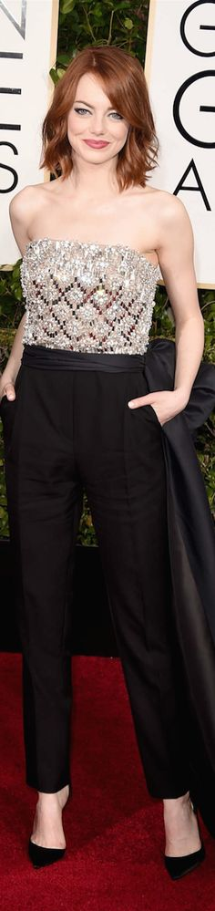 ON THE RED CARPET  via LOLO repin by BellaDonna *updated * Emma Stone 2015 Golden Globe Awards