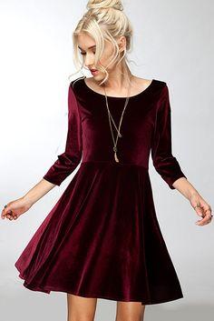 Lap of Luxury Burgundy Long Sleeve Velvet Dress - ShopLuckyDuck  - 1