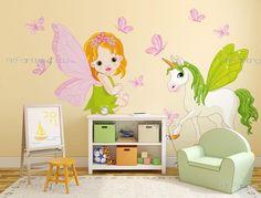 Feer & Enhörningar (Kit) - Brett utbud av dekorativa produkter, Väggdekor och Wallstickers Barnrum, Väggdekoration Barn, Väggdekaler. Det roliga sättet att Dekorera på!