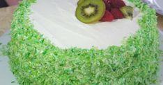 Gâteau d'anniversaire vert et blanc (kiwi, framboise et coco). . La recette par Beautyfood.