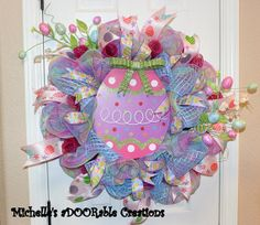 Easter Egg Deco Mesh Wreath by MaDoorableCreations on Etsy, $80.00