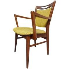 Mid-Century Modern 1950 Danish Teak Armchair with Yellow Fabric