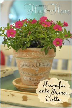 french inspired terra cotta flower pots, crafts, decoupage, flowers, gardening, I used my DIY Aged Terra Cotta Pots the tutorial for aging t...