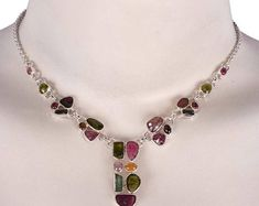 Multi Tourmaline Slice and Rough Handmade Necklace Colorful 925 Silver Drop
