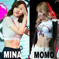 choose the best abs? MINA or MOMO? #Twice  Oh god I could never choose... They're both so hot!
