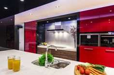 Red Contemporary Kitchen