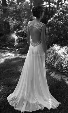 vintage wedding dress with crystals jewels beaded beading embroidered halter straps and keyhole backing backless wedding flowing gown