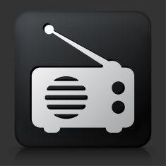Black Square Button with Radio Icon vector art illustration