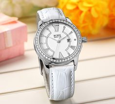 BUREI® Women's Daphne Diamond-Accented Quartz Movement Watch with White Leather Band Price:$55.99