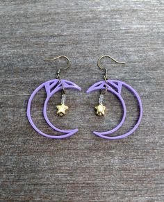 3D Printed Celestial Crescent Moon Earrings, Purple ABS with Gold Star