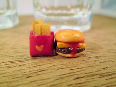 Hamburger and french fries earrings, polymer clay earrings, handmade earrings, fast food earrings, post earrings, earrings with bow, charm