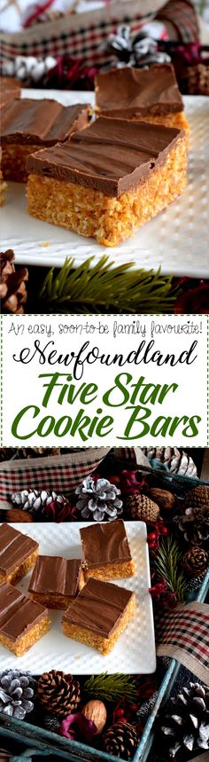 Newfoundland Five Star Cookie Bars - A deliciously simple cookie bar which uses the most inexpensive ingredients; this traditional Newfoundland confection earns a five star rating every single time! Best Dessert Recipes, Easy Desserts, Cookie Recipes, Delicious Desserts, Yummy Food, Bar Recipes, Recipies, Rock Recipes, Sweet Recipes