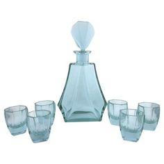 one kings lane | aqua crystal decanter w/ 6 glasses