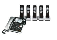 AT&T CL84202 6 Handset Telephone System 1 Corded/5 Cordless Handsets CID Push-to-talk Speakerphone NEW
