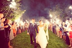 Evening wedding = sparklers for guests ... I want my quests to have sparklers regardless for at night along with a fireworks display .. cha-ching$$$