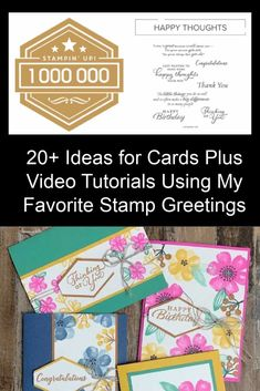 Need ideas for making creative and simple greeting cards? I've got 20+ ideas that use the same stamp set along with video tutorials and measurements. It's such a fun paper craft and then you get to share your handmade cards with someone else and spread the cheer or support. Watch the tutorials today! Card Making Tips, Card Making Supplies, Card Making Tutorials, Video Tutorials, Birthday Congratulations, Card Maker, Happy Thoughts, It's Your Birthday, Handmade Cards