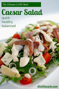 What is the ultimate What is the ultimate LCHF meal? What is the ultimate What is the ultimate LCHF meal? It has to be the classic LCHF caesar salad. Low in carbs moderate protein and plenty of healthy nutritious fats. Salad Recipes Low Carb, Keto Recipes, Healthy Recipes, Simple Recipes, Healthy Eats, Vegetarian Recipes, Low Carb Lunch, Low Carb Keto, Lchf