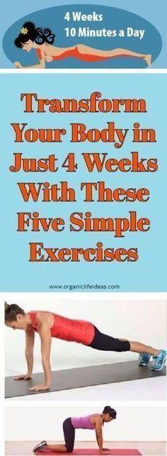 Transform Your Body in Just 4 Weeks With These Five Simple Exercises – Organic Life Ideas weight/weight loss tips/womens fitness/natural health/health tips/health tips for women/ Fitness Workouts, Easy Workouts, Fitness Diet, At Home Workouts, Health Fitness, Exercise Cardio, Excercise, Exercise Plans, Exercise Routines