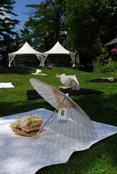 Picnic Wedding... with parasol 'table (blanket) numbers'