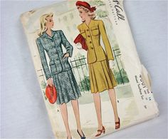 Vintage 40s Suit Sewing Pattern, McCall, 4601