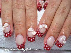 Polka dots french manicure & bows 3D nail art