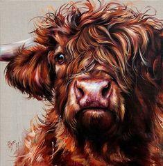 Artist Georgina McMaster Highland Cow Painting, Highland Cow Art, Scottish Highland Cow, Highland Cattle, Cow Pictures, Animal Pictures, Animal Paintings, Animal Drawings, Sweet Cow