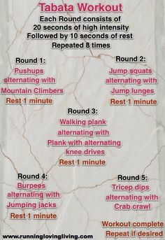Workout Plans : Check out this and 5 other Tabata Workouts…They are simple, effective…and SH… – Fitness Magazine Tabata Training, Tabata Workouts, At Home Workouts, Workout Exercises, Body Workouts, Fitness Tips, Fitness Motivation, Health Fitness, Free Fitness