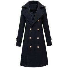 Woolen Double-Breasted Coat (94 BAM) ❤ liked on Polyvore featuring outerwear, coats, woolen coat, double breasted coat, double breasted woolen coat, double-breasted wool coat and wool coat