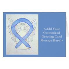 Periwinkle Ribbon Angel Personalized Cards