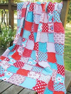Twin Size Quilt, Rag, Sugar Sweet, turquoise and red, Girl, ALL NATURAL, fresh modern handmade bedding-Quilts Bed Twin patchwork blanket bedroom decor turquoise shabby natural eco friendly country modern quilts rag quilt twin size twin quilts red aqua girl handmade