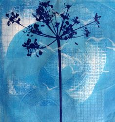 Ghosts Series #2 - mono gelli print with screen printed overlay