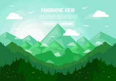 Green Panoramic Landscape Illustration Vector Background