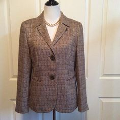 Listing Beautiful Tweed Blazer Photos don't do this beauty justice! Soft knit fabric with understated gold threading throughout. Fully lined. Worn a few times but still in great condition. Pair with your favorite distressed jeans for a casual outing or a chic pencil skirt for the office. Its so easy to dress this piece up or down. Measurements to follow. Lafayette 148 New York Jackets & Coats Blazers