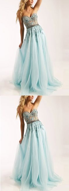 2017 Custom Made Light Blue Chiffon Prom Dress,Sweetheart Evening Dress,Beading Party Gown,Sleeveless Pegeant Dress,High Quality