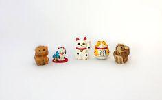 Vintage set miniature Japanese Maneki-neko lucky cats mini