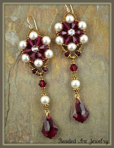 Beadwoven, Beaded, Beadwork Swarovski Crystal and Pearl Earrings. $45.00, via Etsy.