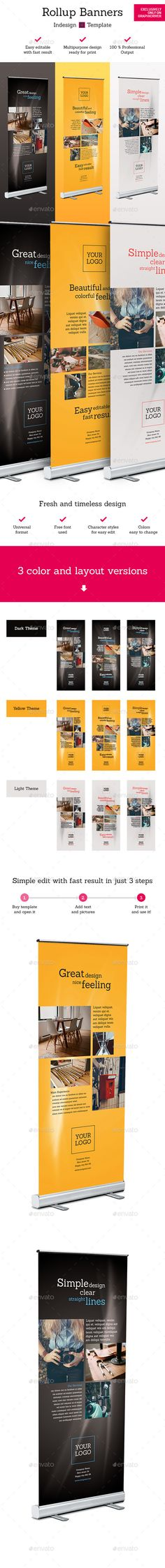 Buy Rollup Stand Banner Display Indesign Template by petovexclusive on GraphicRiver. Rollup Stand Banner Display Indesign Template Simple and modern multipurpose rollup banner stand indesign print t. Letterhead Template, Indesign Templates, Print Templates, Brochure Template, Elegant Business Cards, Cool Business Cards, Banner Template, Flyer Template, Rollup Display