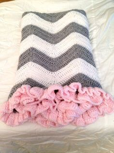Crochet Baby Blanket Grey and White Chevron with Pink Ruffle Check more at http://www.newbornbabystuff.com/crochet-baby-blanket-grey-and-white-chevron-with-pink-ruffle/